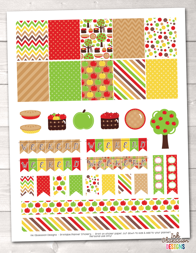 Apple Picking Printable Planner Stickers Weekly Kit