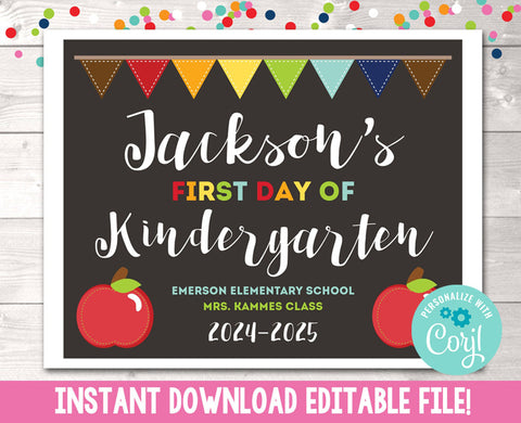Editable Apples First Day of School Sign Instant Download PDF