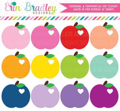 Apples with Hearts Clipart Set