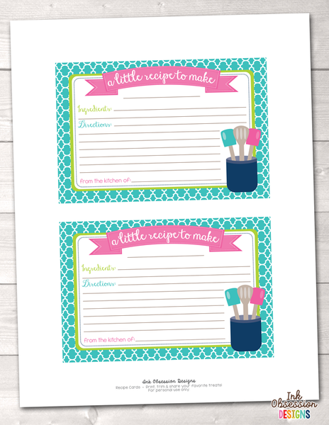 Aqua Blue Quatrefoil Printable Recipe Cards