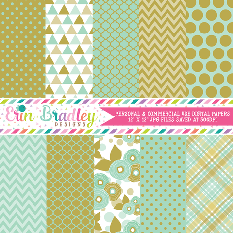 Aqua Blue and Gold Floral Digital Paper Pack