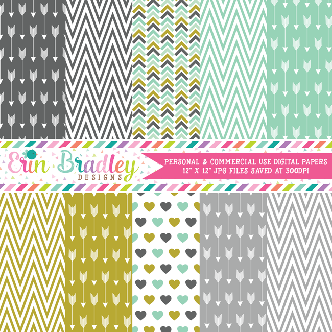 Arrows and Chevron Digital Paper Pack