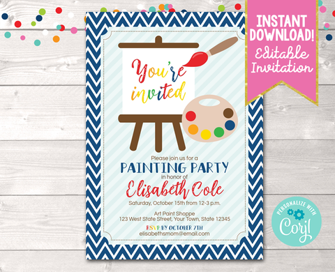 Editable Art Painting Party Birthday Party Invitation Blue Instant Download Digital File