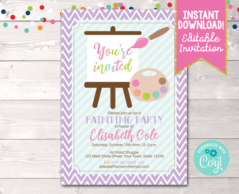 Editable Art Painting Party Birthday Party Invitation Purple Instant Download Digital File
