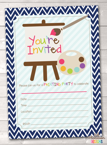 Art Party Printable Birthday Party Invitation
