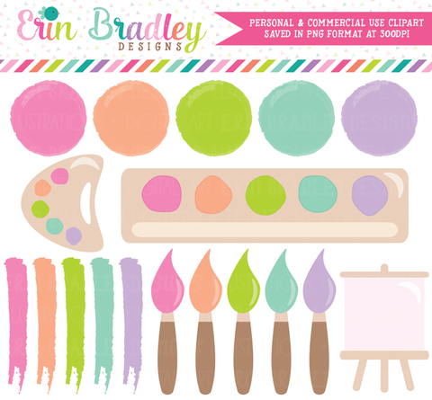 Girls Art Party Clipart