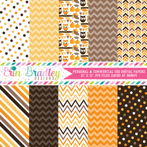 Autumn Owls Digital Paper Pack