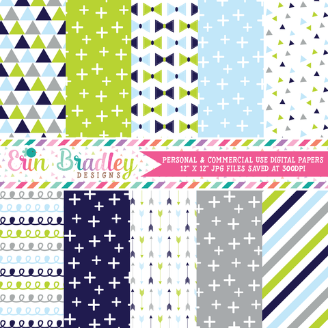 Baby Boy Blues Digital Paper Pack
