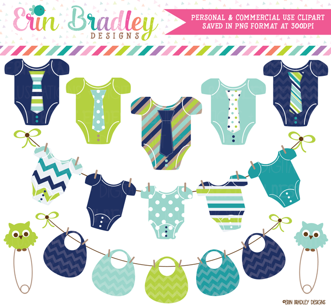 Boys Baby Tees and Bunting Clipart