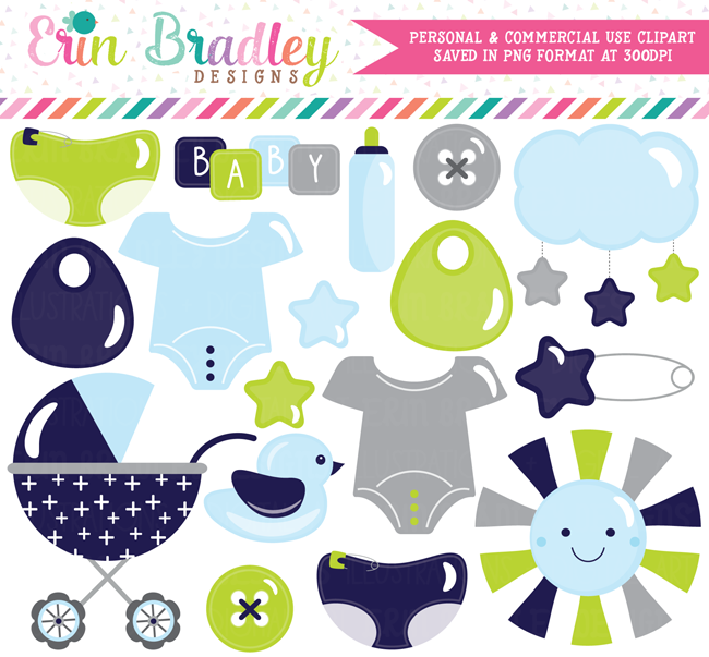 Baby Boy Clipart in Navy Blue Gray and Green