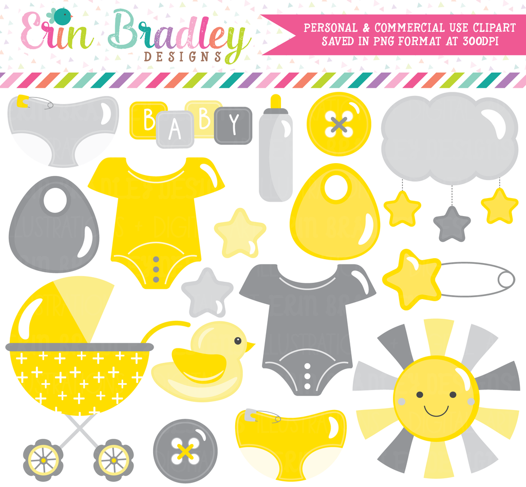 Baby Clipart in Yellow and Gray