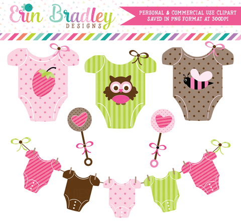 Baby Girl Tees and Rattles Clipart