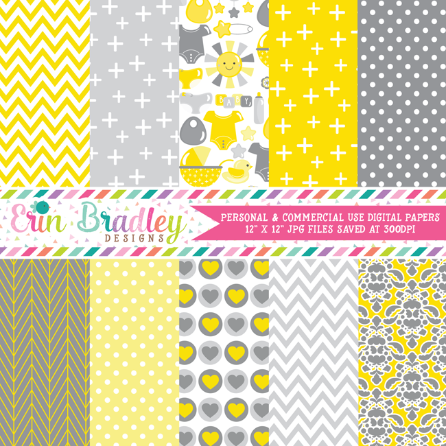 Baby Yellow and Gray Digital Paper Pack