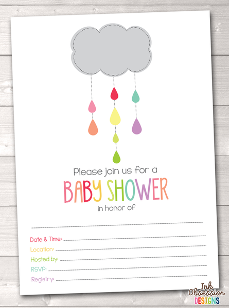 Shower Cloud Printable Baby Shower Invitation