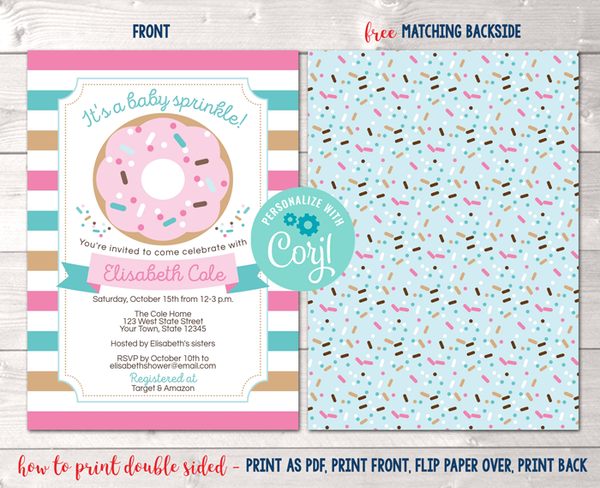 Editable Baby Sprinkle Baby Shower Invitation Instant Download Digital File