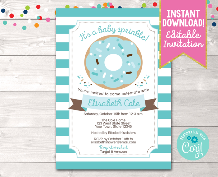 Editable Baby Sprinkle Blue Baby Shower Invitation Instant Download Digital File