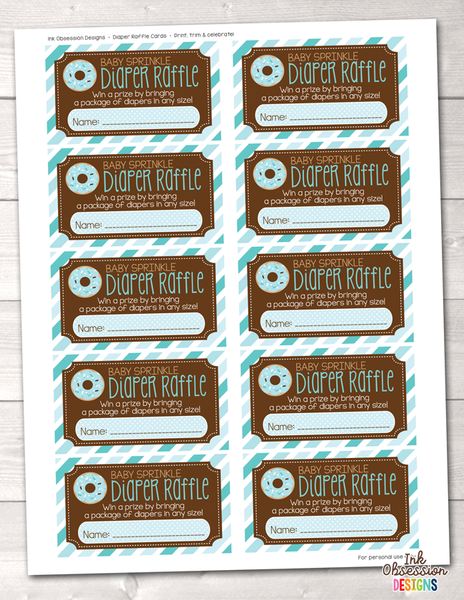 Baby Sprinkle Blue Printable Diaper Raffle Ticket