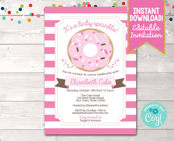Editable Baby Sprinkle Pink Baby Shower Invitation Instant Download Digital File
