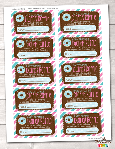 Baby Sprinkle Pink and Blue Printable Diaper Raffle Ticket
