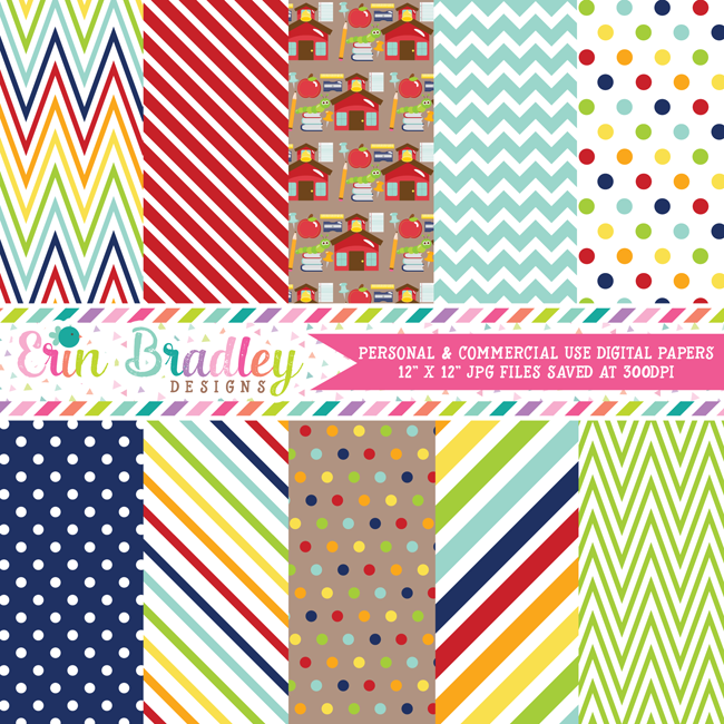Back to School Digital Paper Pack
