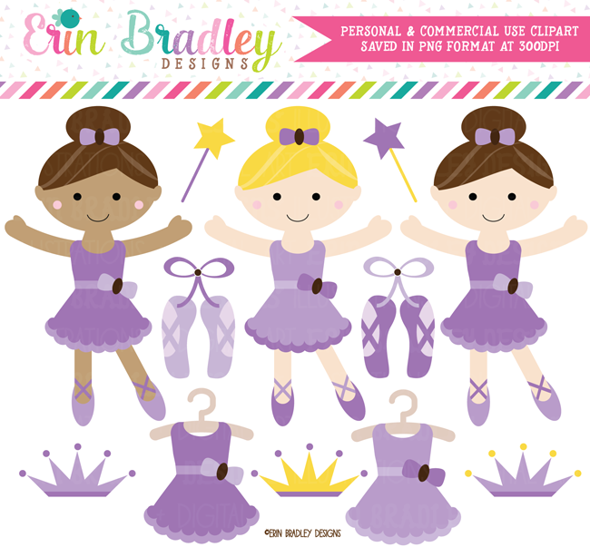 Purple Ballerinas Clipart