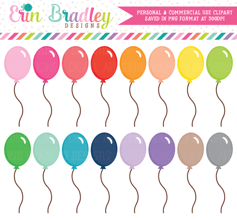 Birthday Party Balloons Clipart Graphics