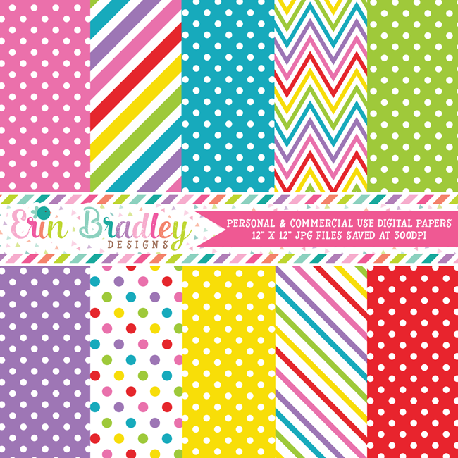 Colorful Beach Days Digital Paper Pack