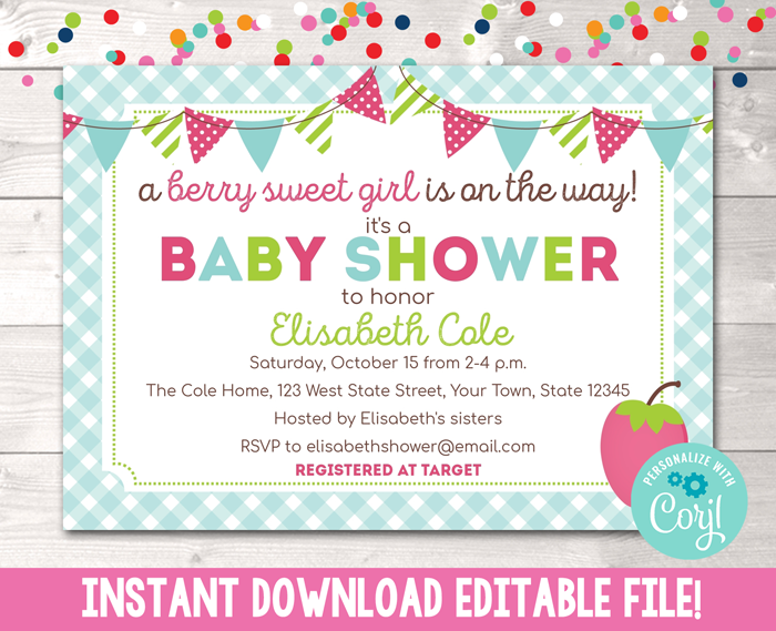Editable Berry Sweet Girl Baby Shower Invitation Instant Download Digital File