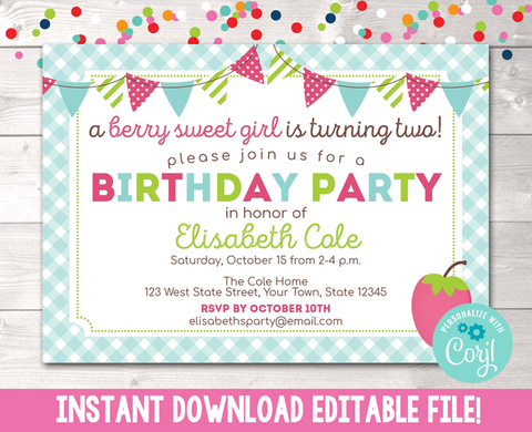 Editable Berry Sweet Girl Birthday Party Invitation Instant Download Digital File