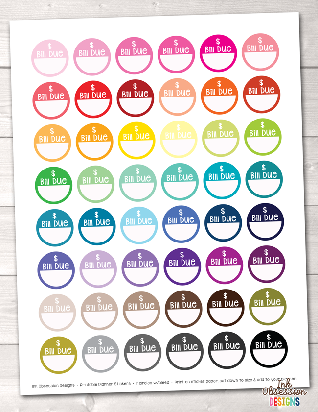 Bill Due Circles Printable Planner Stickers