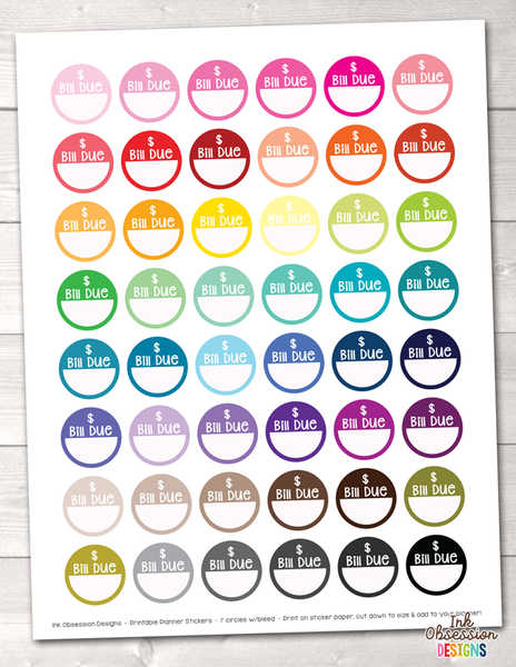 picture about Circle Printable Stickers named Monthly bill Because of Circles Printable Planner Stickers
