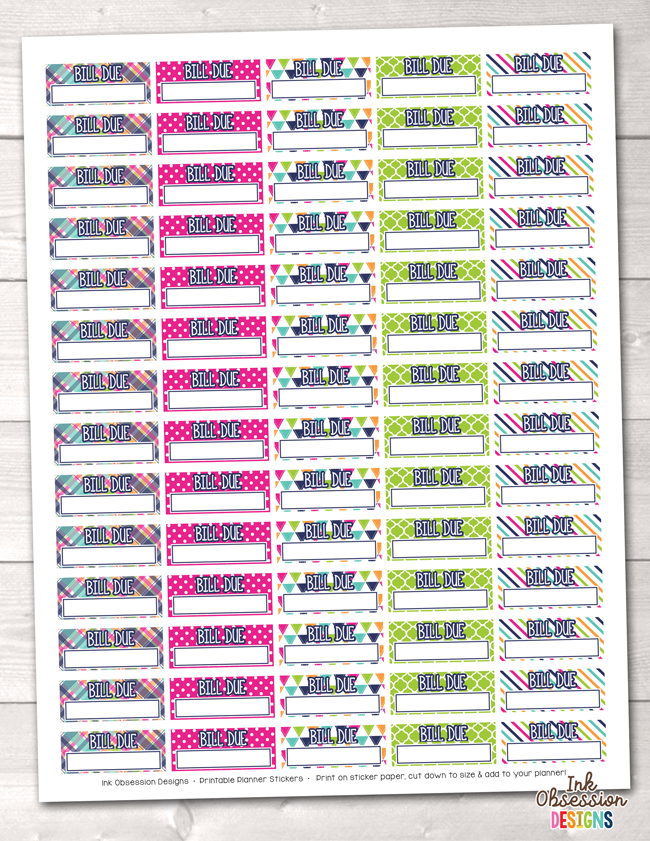 Bill Due Printable Planner Stickers