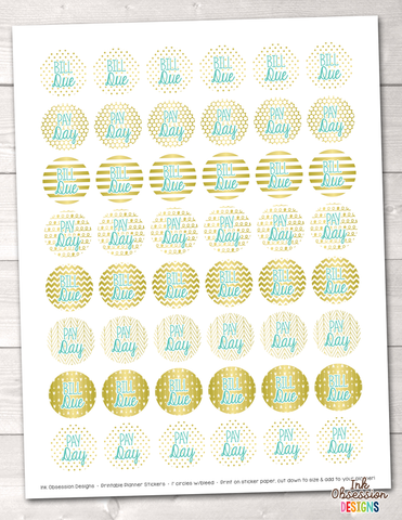 Gold Foil and Blue Bill Pay and Pay Day Printable Planner Stickers
