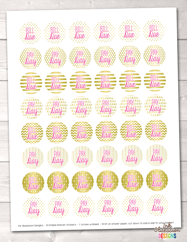Gold Foil and Pink Bill Pay and Pay Day Printable Planner Stickers
