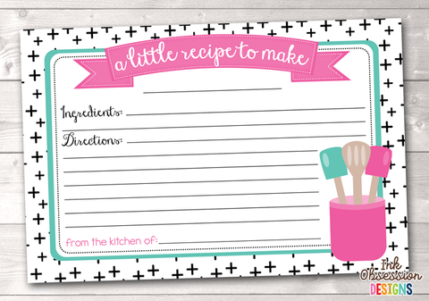 Black Crosses Printable Recipe Cards