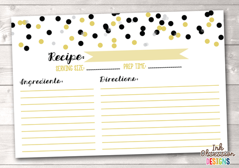 Black and Gold Polka Dot Confetti Printable Recipe Cards
