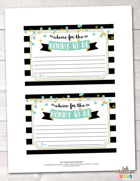 Black Stripes and Aqua & Gold Polka Dots Printable Mommy Advice Cards