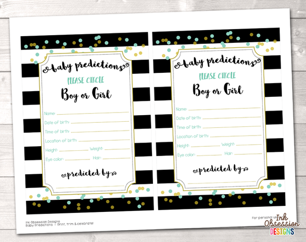 Black Stripes and Aqua Blue & Gold Polka Dots Baby Predictions Card