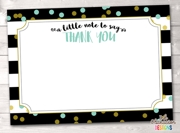 Black Stripes and Aqua Blue & Gold Polka Dots Printable Thank You Cards