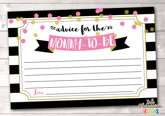Black Stripes and Pink & Gold Polka Dots Printable Mommy Advice Cards