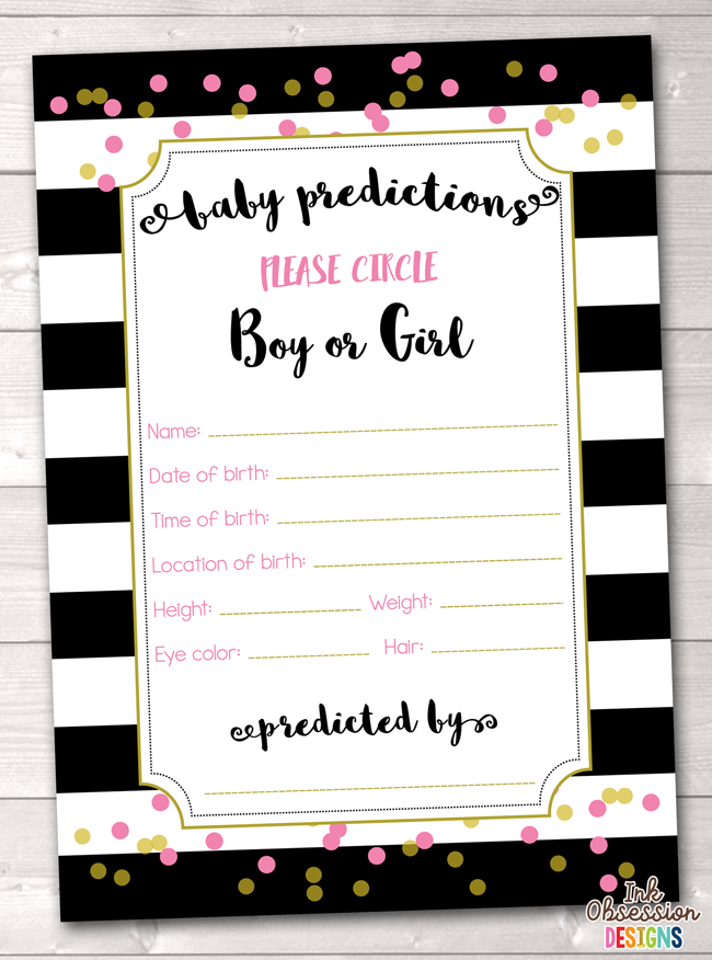 Black Stripes and Pink & Gold Polka Dots Baby Predictions Card