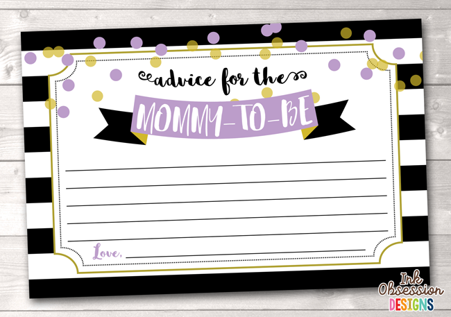 Black Stripes and Purple & Gold Polka Dots Printable Mommy Advice Cards