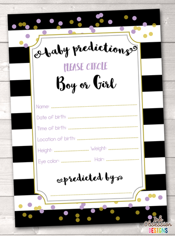 Black Stripes and Purple & Gold Polka Dots Baby Predictions Card