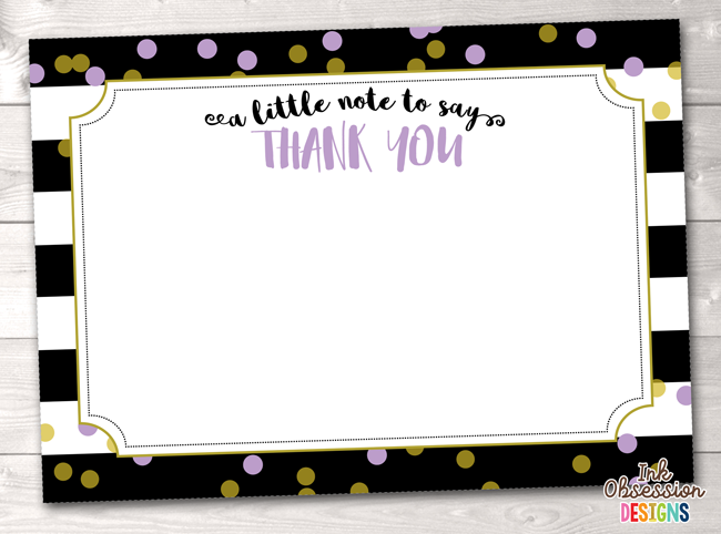 Black Stripes and Purple & Gold Polka Dots Printable Thank You Cards