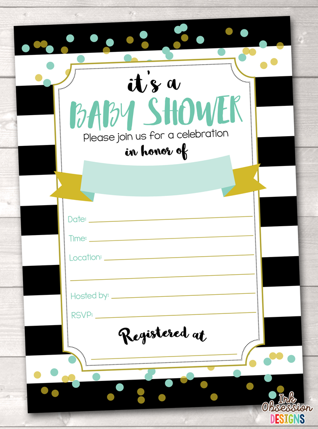 Black Stripes and Aqua Blue Baby Shower Invitation Printable PDF