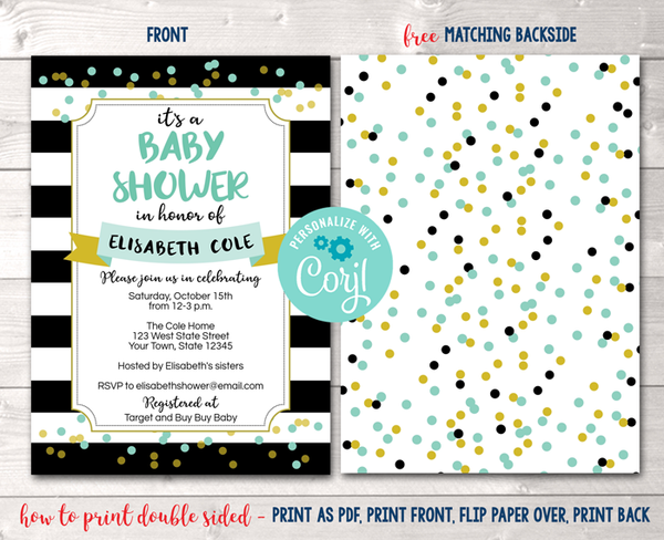 Editable Black Stripes and Aqua Baby Shower Invitation Instant Download Digital File