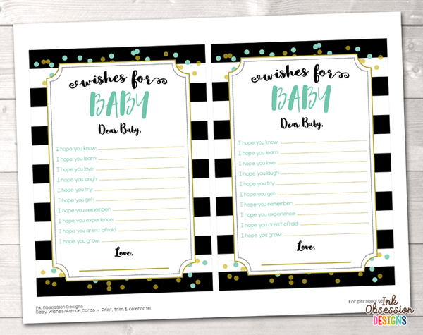 Black Stripes and Aqua & Gold Polka Dots Printable Baby Wishes Cards