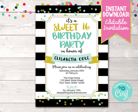 Editable Black Stripes and Aqua & Gold Confetti Dots Milestone Birthday Party Invitation Instant Download Digital File