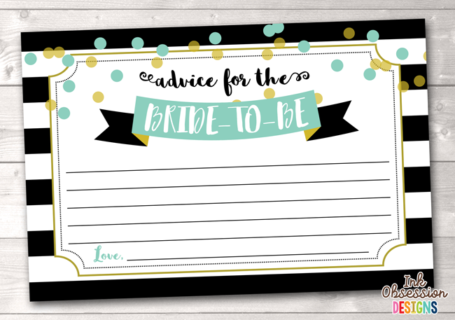 Black Stripes and Aqua Blue Polka Dots Printable Advice for the Bride to Be Cards