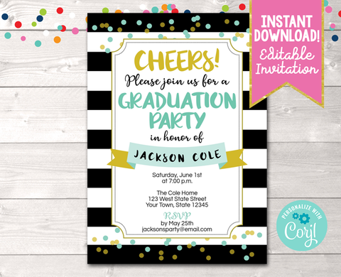 Editable Black Stripes and Aqua Dots Graduation Party Invitation Instant Download Digital File
